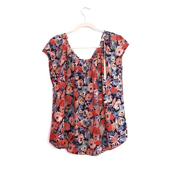 1d853e722772b Lauren Conrad Pleat Neck Floral Peasant Blouse
